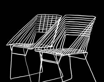 Chairs Illustration-Pop Art Print