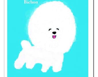 Bichon Dog Illustration-Pop Art Print