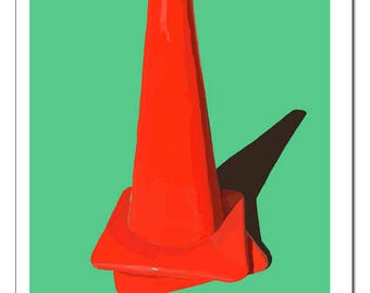 Safety Cone Illustration-Pop Art Print