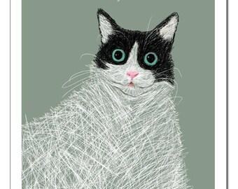 Cat Illustration in French-Pop Art Print