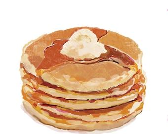 Pancakes Pop Art Illustration Print White BG