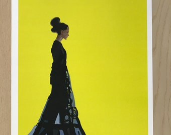 Woman in Gown Illustration-Pop Art Print