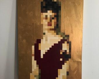 Pixel Gold Lady Portrait Original Painting