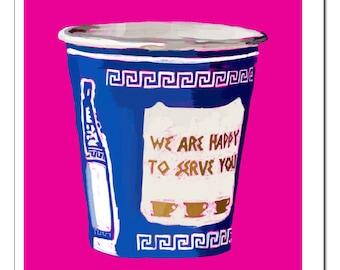 NYC Greek Coffee Cup HOT PINK Illustration-Pop Art Print