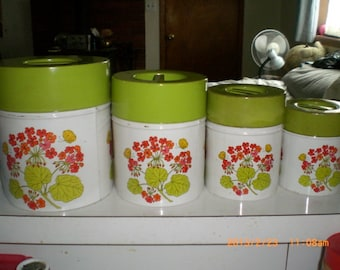 1960's mid Century Mod floral Kitchen Canisters