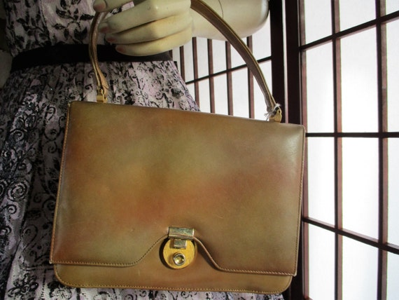 1960's Marbled Tan Nordstroms Best tri fold Purse