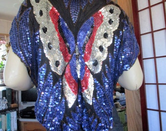 1970s sequined Butterfly blouse