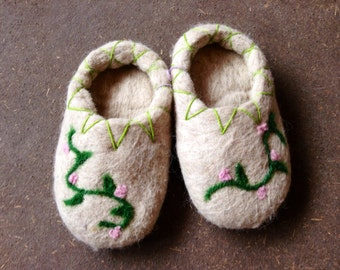 Felted wool child's slippers