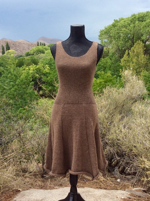 stretchy open back Flower back alpaca dress-Made to order-knit