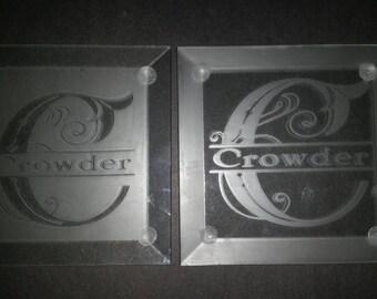 Set of 6 Monogram Glass Coasters