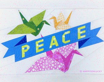 PEACE crane tattoo pattern