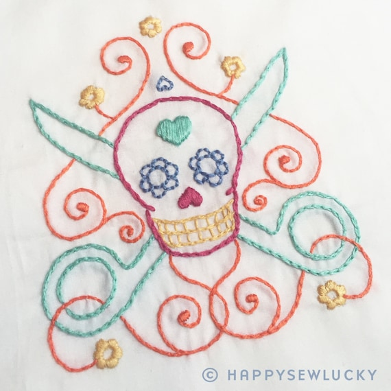 Scissor Sugar Skull Embroidery Pattern Pdf From Happysewluckyshop On