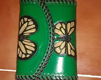 Handmade Leather Trifold Wallet - Green with Gold & Black Butterflies