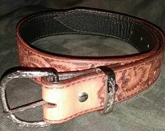 "Handmade Brown Leather Belt Western Floral Design small 28-32"""