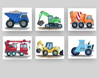 CONSTRUCTION VEHICLES CARS TRUCKS BUSY BUILDER BABY BOY NURSERY WALL ART DECOR