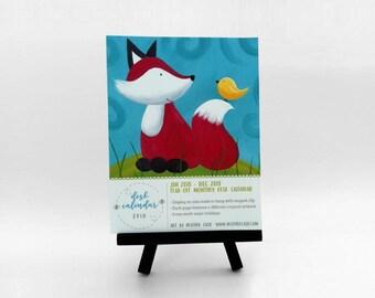 Woodland Art Calendar 2018 - Tear-Off Mini Monthly Desk Calendar - Stocking Stuffer