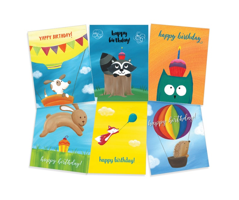 Birthday Card Variety Pack Puppy Raccoon Owl Bunny Fox