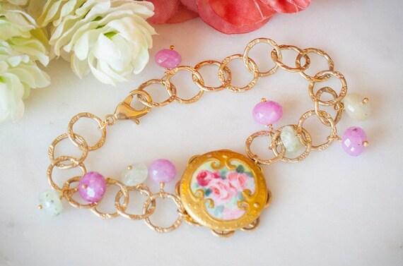 Antique Victorian Porcelain Roses Brooch with Semi Precious Pink Sapphire Stones & Gold Vermeil Bracelet