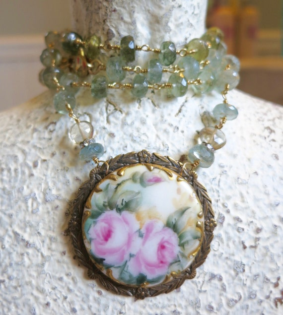 Moss Aquamarine, Hand Painted Roses, Rhinestone, Antique Brooch, Repurposed, Assemblage Necklace, Shabby Chic Roses, Mothers Day Gift