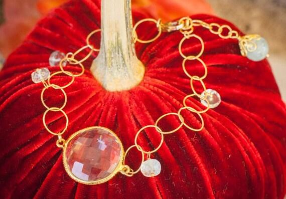 Aquamarine Bracelet, Semi Precious Stone Bracelet, 24k Gold, Gold Vermeil Bracelet, Holiday Jewelry, Christmas Gift