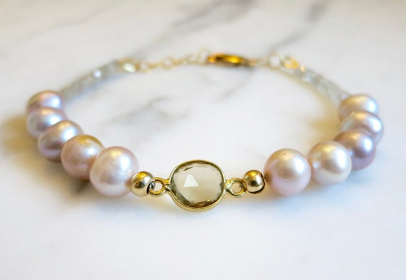 Light Pink Pearl Bracelet, Topaz, Gold, Beach Jewelry, Wedding Gift, Mothers Day Gift