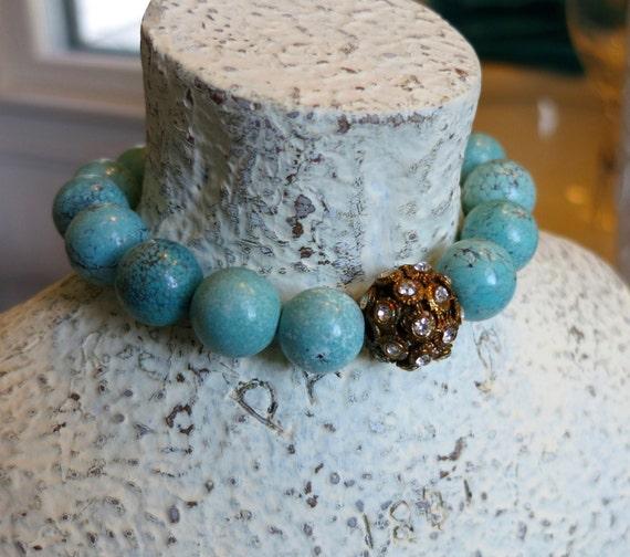 Turquoise Bracelet, Stretch Bracelet, Rhinestone Bracelet, Beach Jewelry, BOHO bracelet, Mothers Day Gift, Birthday Gift, Magnesite