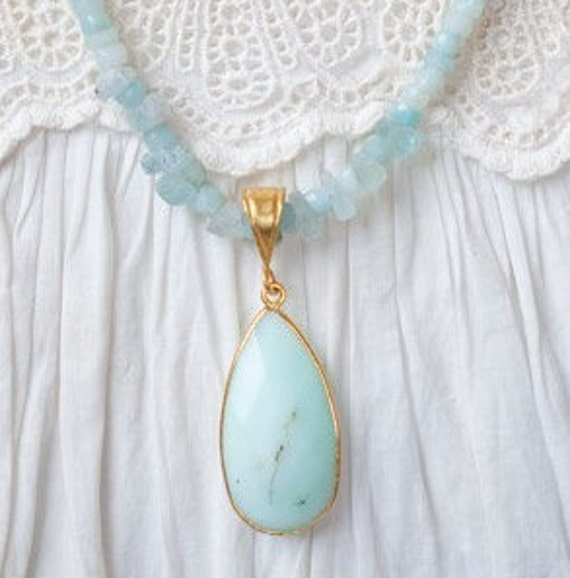 Blue Stone Necklace, Chrysoprase Necklace, Beachy Blue Necklace, Blue Gemstone Necklace, Gold Necklace, Mothers Day Gift, Birthday Gift