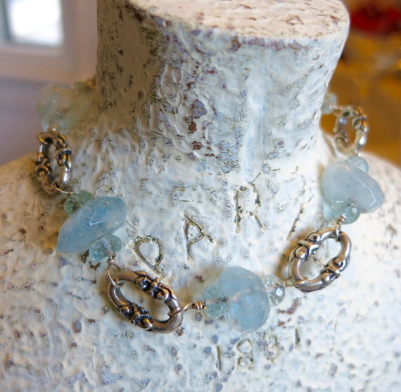 Sterling Silver Aquamarine Bracelet, Nugget and Briolette Chain Bracelet Beachy