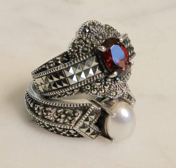 Valentines Day Gift, PAIR Vintage Sterling 925 Silver Marcasite Garnet Ring, Pearl Marcasite Ring, Judith Jack