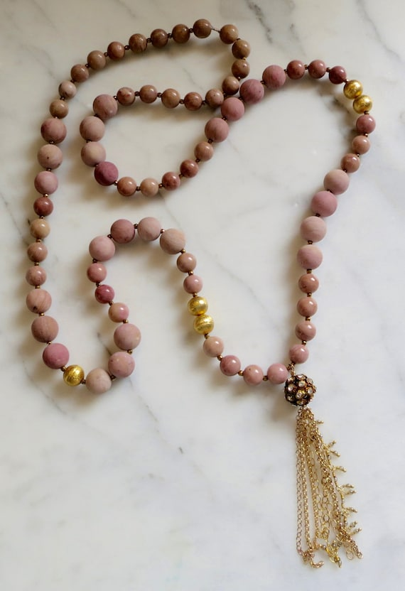BOHO Pink Necklace, Rhodonite Necklace, 24k Gold Vermeil, Rhinestone Necklace, Tassle Necklace, Mothers Day Gift, Birthday Gift