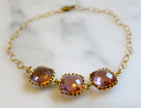 Delicate Pink Square Stone Bracelet with Gold Chain