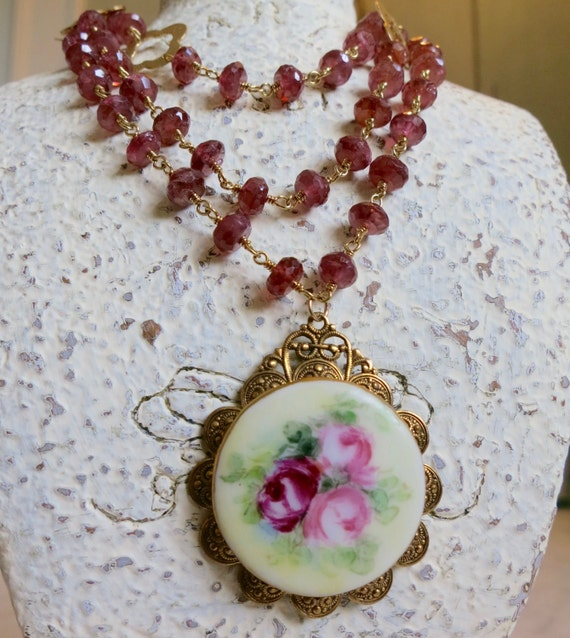 Garnet Necklace, Hand Painted Roses, Antique Brooch, Vintage Roses, Quatrefoil, Repurposed Necklace, Assemblage Jewelry, Mothers Day Gift