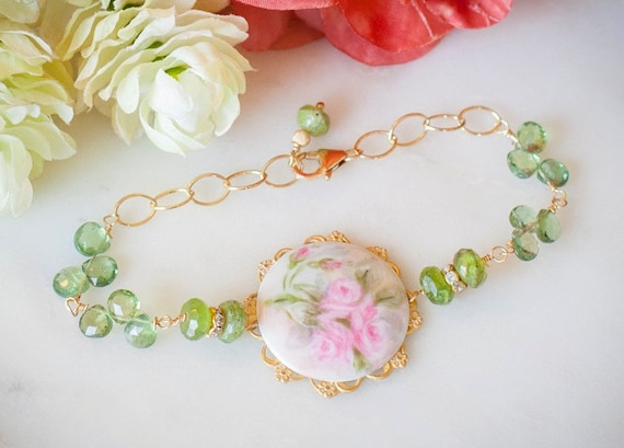 Vintage Hand Painted Porcelain Roses Brooch with Green Apatite Stones & Gold Bracelet