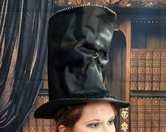Black Leather Skull Stovepipe Hat