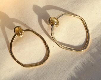 B A Y O U : Abstract Geometric Hammered Brass Stud Gemstone Earrings