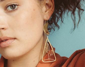 E A S T & W E S T ~~ Asymmetrical Sun and Cactus Landscape Earrings