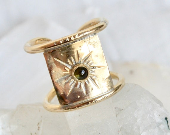 O R B I T // Tourmaline Star Burst Celestial Statement Brass Ring