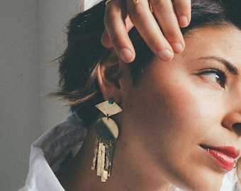 M O O N D A N C E ~~ Geometric Moon Beam Gemstone Earrings