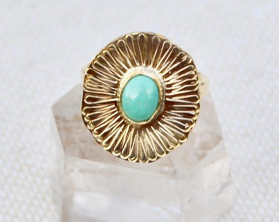 B L O O M : Brass Floral Statement Gemstone Ring