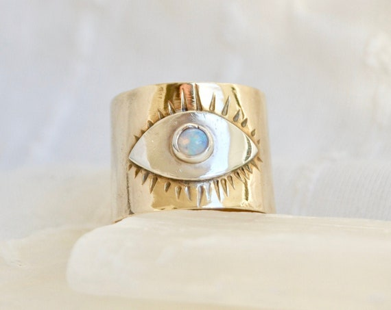 P R O T E C T // Opal Eye Statement Brass Band Ring