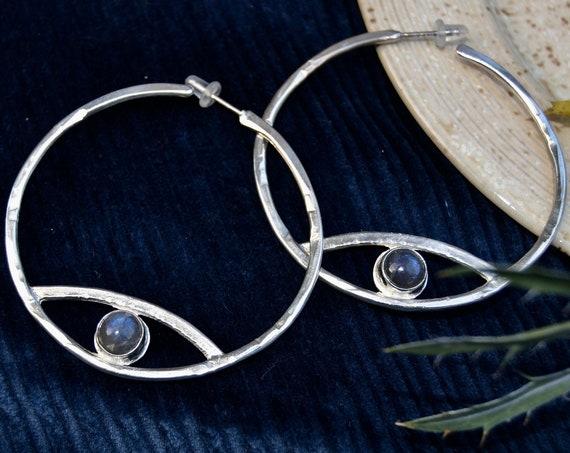 Iris M O O N Gemstone Hammered Brass Eye Hoop Earrings