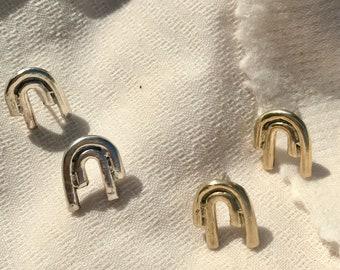 M A G N E T S  I|I| Geometric Arc Rainbow Bar Stud Earrings