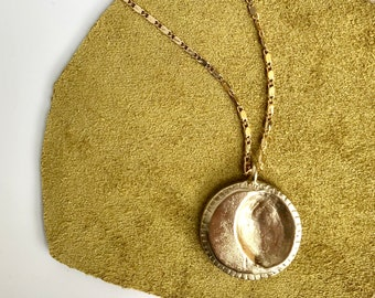 G L O W ~~ Carved Crescent Moon Medallion Pendant