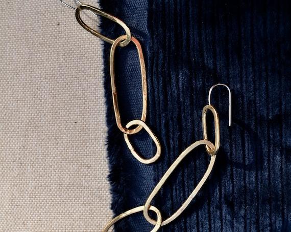 C H A I N : Hammered Brass Chain Link Dangle Earrings