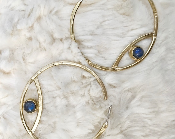Iris M O O N Gemstone Hammered Brass Eye Hoop Earrings