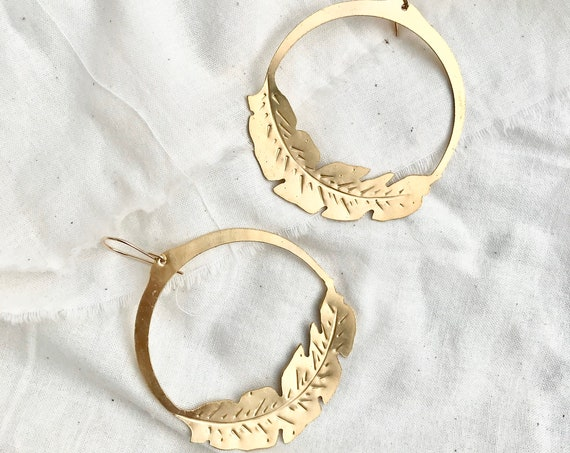 F l o r a //  Palm Leaf Hoop Brass Earrings
