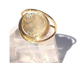 H E L I O S  Brass Geometric Crescent Moon Statement Ring