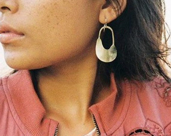 G I L A : Formed Brass Abstract Modern Dangle Earrings