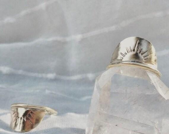 H o r i z o n ~~ Semi-circle Hand stamped Sun Ring