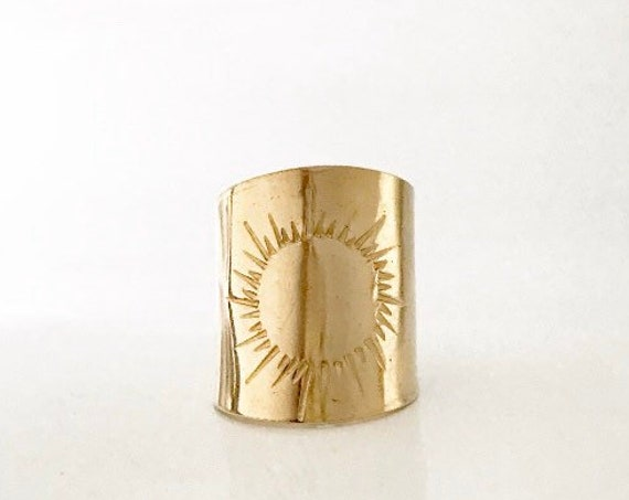 S O L : Adjustable Sun Ray Brass Statement Ring